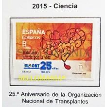 2015 CIENCIA 25 AÑOS ORGANIZACION TRANSPLANTES EDIFIL 4933 ** MNH SCIECE TC20471