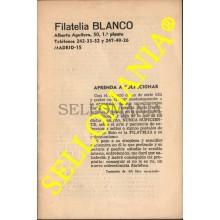 APRENDA A COLECCIONAR FOLLETO EXPLICATIVO DE FILATELIA BLANCO AÑO 1975  TC22775