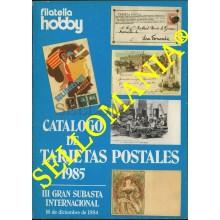 CATALOGO DE TARJETAS POSTALES SUBASTA INTERNACIONAL HOBBY 1985 POSTCARDS TC22784