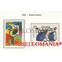 1989 CREATION ENFANTINE CHILDREN DESING DISEÑO  2986 / 87 MNH ** TC22850 FR