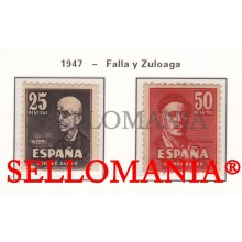 1947 MANUEL DE FALLA & IGNACIO ZULOAGA 1015 / 16 ** MNH LUJO LUXE TC10998