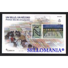 2015 RECORD GUINNESS UN SELLO UN RECORD EDIFIL 4973 SPD FDC FICHA DOMINO TC20564