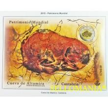 2015 PATRIMONIO CUEVA ALTAMIRA COVES BISONTE BISON 4965 ** MNH HB SHEET  TC20489