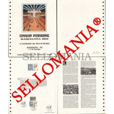 1979 BARNAFIL BARCELONA 1929 TIMBRE RECHARGE STAMP DOCUMENTO 9 TC23574 FR