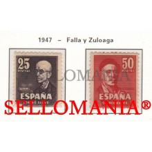 1947 MANUEL DE FALLA & IGNACIO ZULOAGA 1015 / 16 ** MNH LUJO LUXE TC23481
