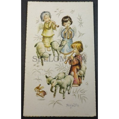ESTAMPA HOLY CARD CHILDREN SHEPHERDS WITH SHEEP ANDACHTSBILD SANTINI   CC1745