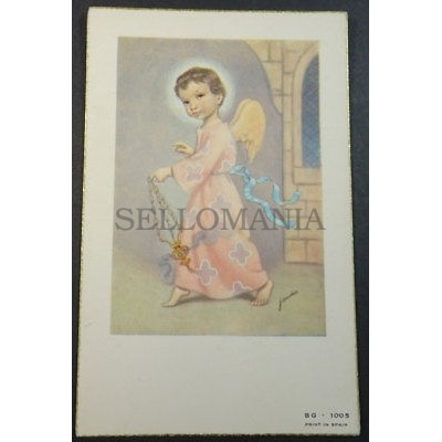 ESTAMPA HOLY CARD ANGEL CHILD WITH INCENSE ANDACHTSBILD SANTINI SANTINO   CC1746