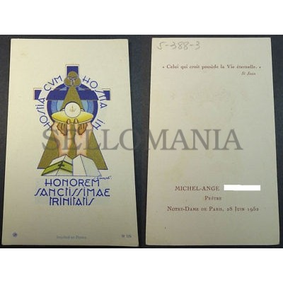 ESTAMPA HOLY CARD BLESSED HOSTIA HOLY TRINITY 1952  ANDACHTSBILD SANTINI  CC1754