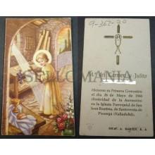 ESTAMPA HOLY CARD PRIMERA COMUNION PARROQUIA SAN JUAN BAUTISTA 1960       CC1779