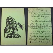 ANTIGUA ESTAMPA HOLY CARD VIRGEN MARIA Y NIÑO JESUS ANDACHTSBILD SANTINI CC1798