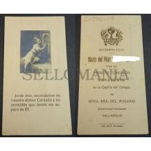 ESTAMPA PRIMERA COMUNION HOLY CARD 1920 COLEGIO DEL ROSARIO VALLADOLID CC2093