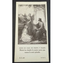 OLD BLESSED JESUS CHRIST IN MARTHA AND MARY HOUSE HOLY CARD ANDACHTSBILD CC2120