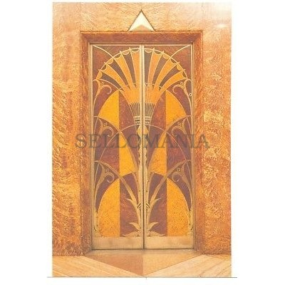 ANTIGUA POSTAL ART DECO ELEVATOR DOOR CHRYSLER BUILDING POSTCARD         TC10875