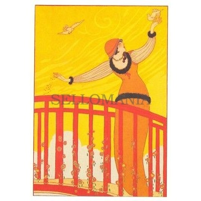 ANTIGUA POSTAL ART DECO PASSERELLE ILLUSTRATION MODES MANIERES POSTCARD  TC10859