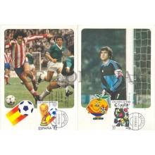 TARJETA MAXIMA ESPAÑA 82 FUTBOL EDIFIL 2644/45 ARCONADA MAXIMUM CARD     TC11888