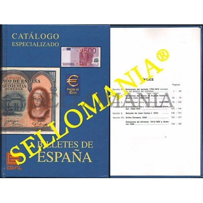 CATALOGO ESPECIALIZADO EDIFIL BILLETES DE ESPAÑA EDICION 2002  ULTIMO A LA VENTA