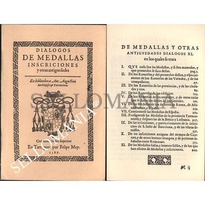 DIALOGOS DE MEDALLAS INSCRIPCIONES Y OTRAS ANTIGUEDADES    AUTOR JUAN CAYON 1987