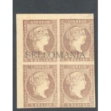 1855 ISABEL II  SIN DENTAR EDIFIL 50 ** MNH BLOQUE DE 4 BLOCK SPAIN      TC10033