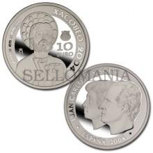 ESTUCHE FNMT CON MONEDA XACOBEO 2004 10 EUROS PLATA CON CERTIFICADO      TC11960
