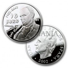 ESTUCHE FNMT MONEDA CENTENARIO LUIS CERNUDA 2002 10 EUROS PLATA          TC11947