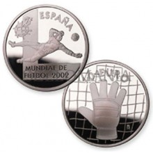 ESTUCHE FNMT MONEDA MUNDIAL DE FUTBOL 2002 GUANTE  10 EUROS PLATA        TC11950