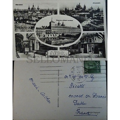 ANTIGUA POSTAL MONASTERIO DE EL ESCORIAL ESTANQUE VISTA GENERAL MADRID   CC3869