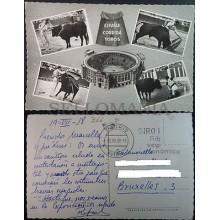 ANTIGUA POSTAL LUIS MIGUEL DOMINGUIN CORRIDA TOROS 1958 BULLS POSTCARD   CC3899