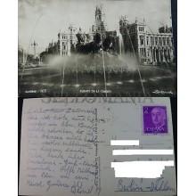 ANTIGUA POSTAL 1957 MADRID FUENTE DE LA CIBELES  FOTO ZERKOWITZ POSTCARD CC04166