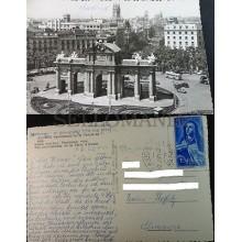 ANTIGUA POSTAL 1962 MADRID PANORAMICA DE LA PUERTA DE ALCALA POSTCARD    CC04169
