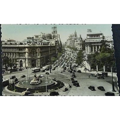 ANTIGUA POSTAL MADRID PLAZA LA CIBELES Y CALLE ALCALA POSTCARD POSTKARTE CC04183