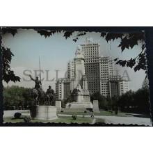 ANTIGUA POSTAL MADRID PLAZA ESPAÑA EDIFICIO ESPAÑA MONUMENTO CERVANTES   CC04184