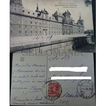 ANTIGUA POSTAL 1909 MONASTERIO EL ESCORIAL FACHADA MADRID POSTCARD       CC04225