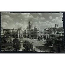 ANTIGUA POSTAL 1956 MADRID PLAZA DE LA CIBELES PALACIO DE COMUNICACIONES CC04233