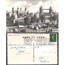 POSTCARD LONDON TOWER HILL 1956 ENGLAND TORRE DE LONDRES INGLATERRA POSTAL CC03446 UK