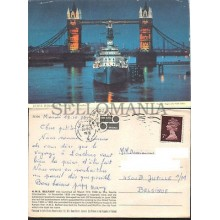 POSTCARD LONDON HMS BELFAST TOWER BRIDGE 1976 ENGLAND LONDRES INGLATERRA POSTAL BOATS CC03447 UK