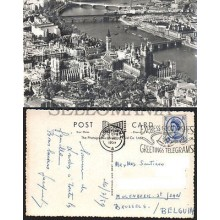 POSTCARD LONDON RIVER THAMES WESTMINSTER AERIAL VIEW 1959 ENGLAND LONDRES INGLATERRA POSTAL  CC03449 UK