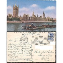 POSTCARD LONDON RIVER THAMES AND PARLIAMENT 1959 ENGLAND LONDRES BOAT INGLATERRA POSTAL  CC03450 UK