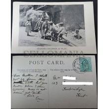 POSTCARD NIÑOS JUGANDO SPANISH CHILDREN HALFPENNY STAMP 1904 EDWARD VII  CC03470