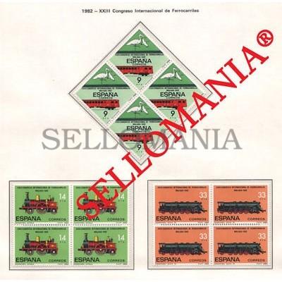 1982 CONGRESO FERROCARRILES RAILWAY CONGRESS EDIFIL 2670 / 72 ** MNH B4 TC21466