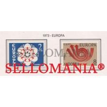 1973 EUROPA CEPT EUROPE ARROWS FLECHAS CORNETA  85 / 86 ** MNH ANDORRA TC21847