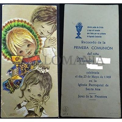 Estampa Primera Comunion Parroquia Santa Ana Jerez 1969 Holy Card Santini Cc1277 Sellomania