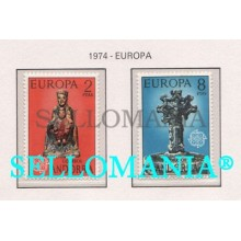 1974 EUROPA CEPT EUROPE VIRGIN ORDINO CROSS  89 / 90 ** MNH ANDORRA TC21850