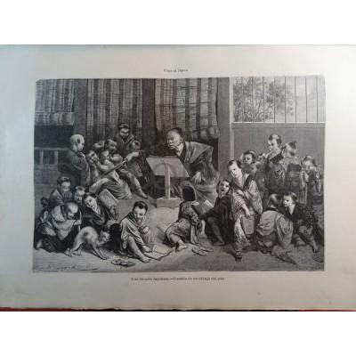 ANTIQUE ENGRAVED JAPAN YEAR 1876 A JAPANESE SCHOOL 19th CENTURY PRINT 007GCDC