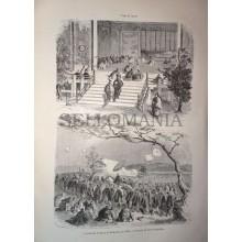 ANTIQUE ENGRAVED JAPAN 1876 TAIKUN VISIT TO THE MIKADO 19th CENTURY PRINT 9CC