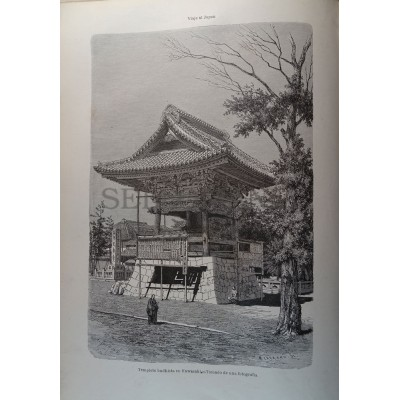 OLD ENGRAVED JAPAN 1876 BUDDHIST TEMPLE IN KAWASAKI  19th. CENTURY PRINT 13CC