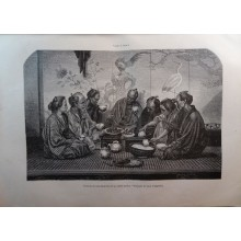 OLD ENGRAVED JAPAN YEAR 1876 FAMILY MEAL MIDDLE CLASS 19th CENTURY PRINT 16CC