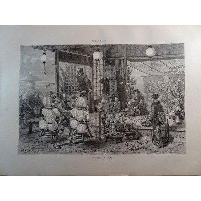 ANTIQUE ENGRAVED JAPAN YEAR 1876 FLOWER SHOP 19th CENTURY PRINT     0017GCDC