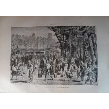 ANTIQUE ENGRAVED JAPAN YEAR 1876 FIELD FAIR YAMASTA 19th CENTURY PRINT 022GCC