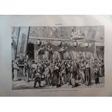 ANTIQUE ENGRAVED 1876 THEATER IN JAPAN INTERLUDE 19th CENTURY PRINT 0023GCDC