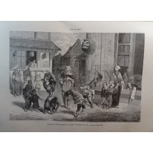 ANTIQUE ENGRAVED JAPAN 1876 SMALL ACROBATS IN YEDO 19th CENTURY PRINT 0024GCC
